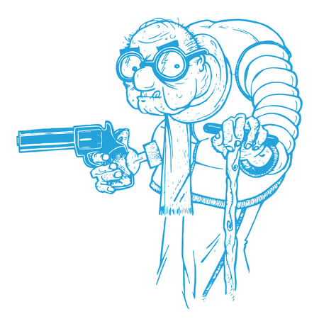 Old Man with a Gun Illustration