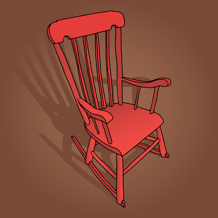 dollhouse: Little Red Rocking Chair Illustration