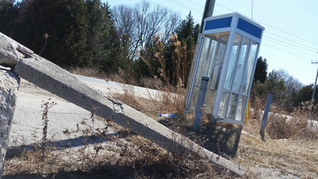 Forgotten Broken Roadside Telephone Booth