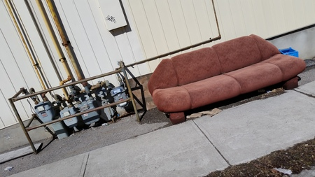Lost Red Couch Garbage with Hydro Power Meters
