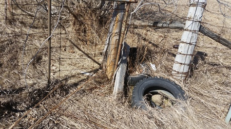 Forgotten Tire and Fence in the Country