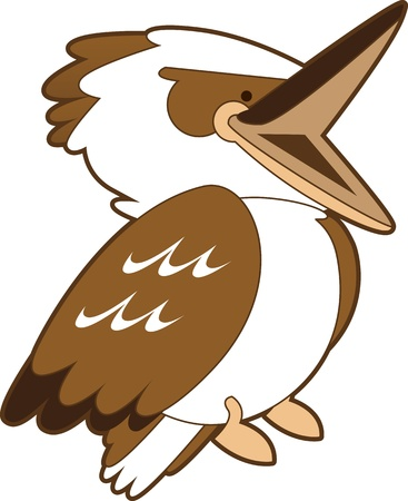 aussie: Cartoon isolated illustration of a laughing kookaburra. Stock Photo
