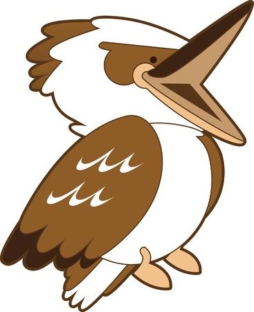 kingfisher: Cartoon isolated illustration of a laughing kookaburra. Stock Photo