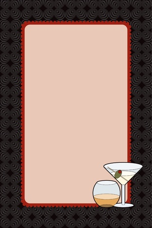 adult birthday party: Blank party invitation design for a sophisticated drinks night with a hint of retro. Can also be used as a photo frame insert Stock Photo