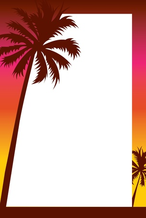 Illustrated party invitation with a cruisy beach theme featuring palm tree silhouettes against a sunset gradient. photo
