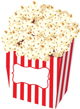 buttered: Spot illustration of a popcorn in a striped bag to be enjoyed at a carnival or watching a movie at the cinema.