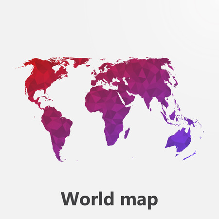 tessellation: World map in geometric, mosaic polygonal style.Abstract tessellation, background. Low poly