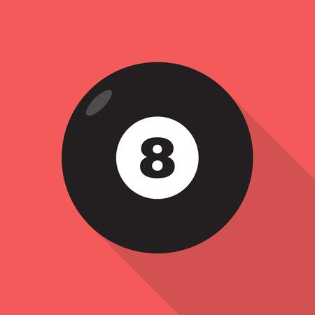 Biljart acht zwarte bal met cijfers. Vector vlakke stijl icoon met lange schaduw