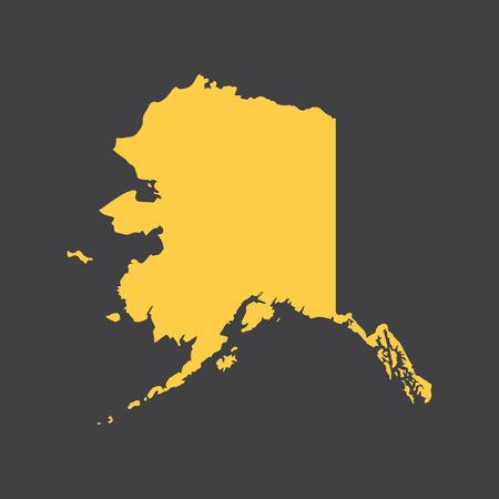 alaska: Alaska state border, map.