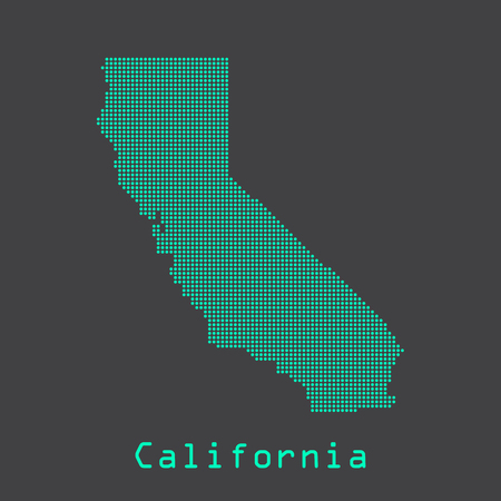 California abstract dots state map. Dotted style. Illustration