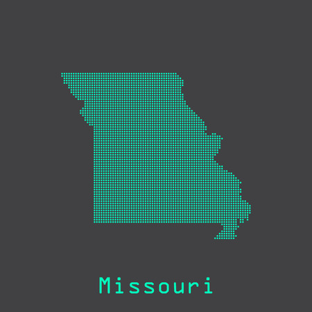 jefferson: Missouri abstract dots state map. Dotted style.