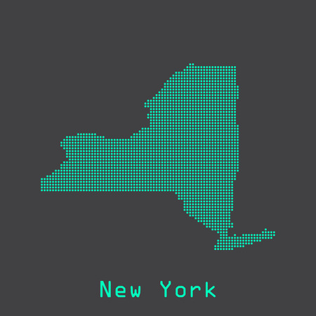 albany: New York abstract dots state map. Dotted style.