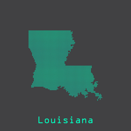 baton rouge: Louisiana abstract dots state map. Dotted style.