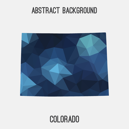 collins: Colorado map in geometric polygonal, mosaic style.Abstract tessellation, modern design background, low poly. illustration.