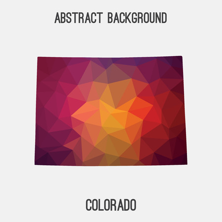 Colorado map in geometric polygonal, mosaic style.Abstract tessellation, modern design background, low poly. illustration.