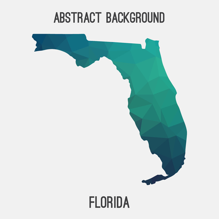 orlando: Florida map in geometric polygonal, mosaic style.Abstract tessellation, modern design background, low poly. illustration.