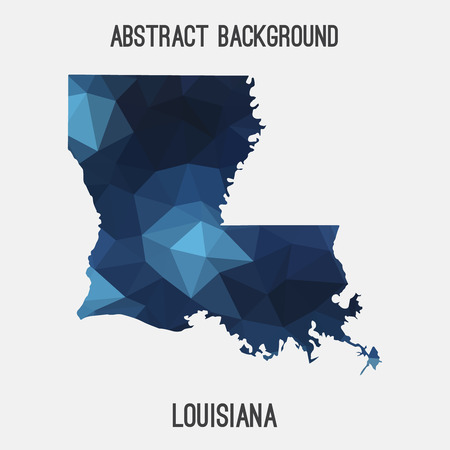 rouge: Louisiana map in geometric polygonal, mosaic style.Abstract tessellation, modern design background, low poly. illustration. Illustration