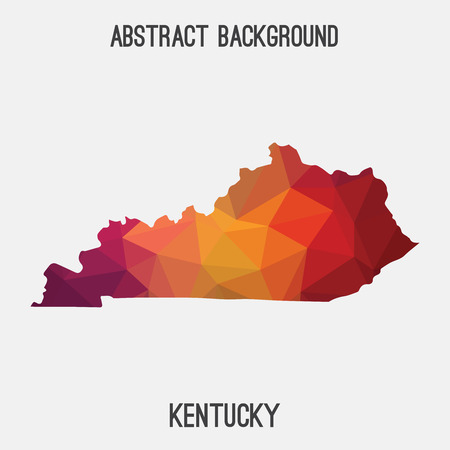 Kentucky map in geometric polygonal, mosaic style.Abstract tessellation, modern design background, low poly. illustration. Illustration