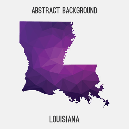baton rouge: Louisiana map in geometric polygonal, mosaic style.Abstract tessellation, modern design background, low poly.  illustration.
