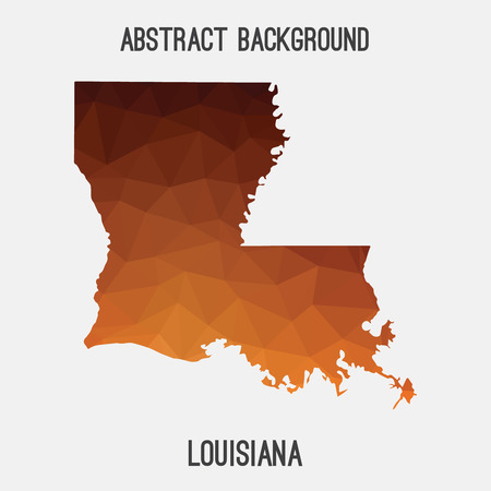 baton rouge: Louisiana map in geometric polygonal, mosaic style.Abstract tessellation, modern design background, low poly. illustration. Illustration