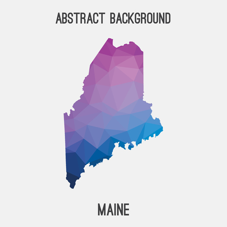 Maine map in geometric polygonal, mosaic style.Abstract tessellation, modern design background, low poly. illustration.