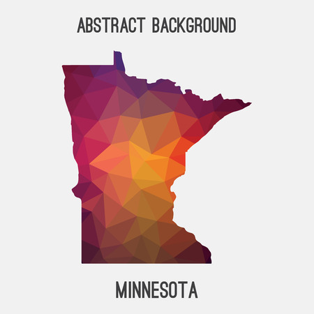 Minnesota map in geometric polygonal, mosaic style.Abstract tessellation, modern design background, low poly. illustration.