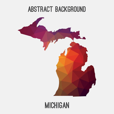 detroit: Michigan map in geometric polygonal, mosaic style.Abstract tessellation, modern design background, low poly. illustration.