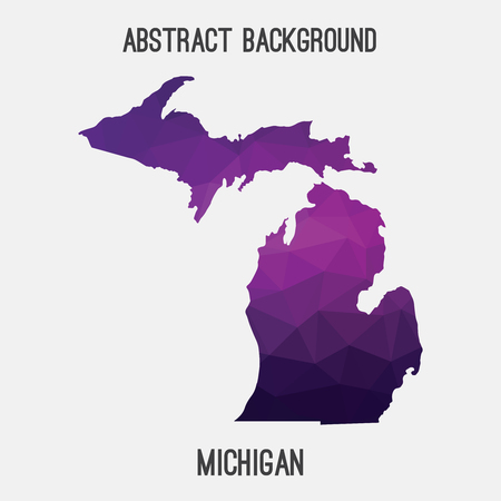 Michigan map in geometric polygonal, mosaic style.Abstract tessellation, modern design background, low poly. illustration.