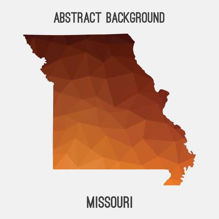 jefferson: Missouri map in geometric polygonal, mosaic style.Abstract tessellation, modern design background, low poly. illustration.