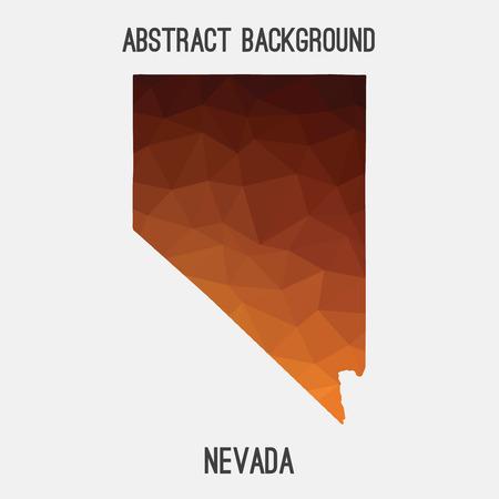 기하학적 인 다각형, 모자이크 스타일에서 네바다지도입니다. 추상 tessellation, 현대적인 디자인 배경, 낮은 폴 리. 삽화.