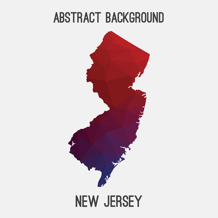 jersey city: New Jersey state map in geometric polygonal style.Abstract tessellation, modern design background.