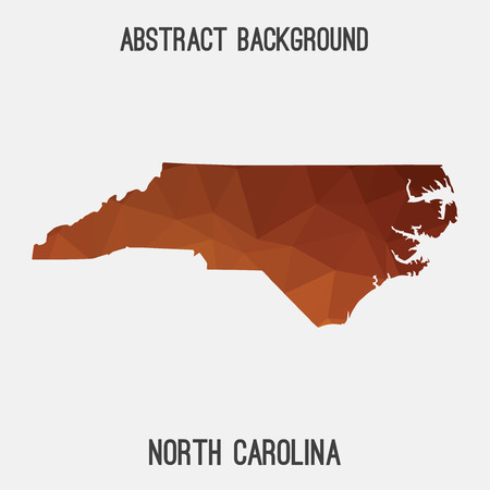 North Carolina map in geometric polygonal, mosaic style.Abstract tessellation, modern design background, low poly. illustration.