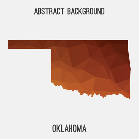 oklahoma city: Oklahoma map in geometric polygonal, mosaic style.Abstract tessellation, modern design background, low poly. illustration.