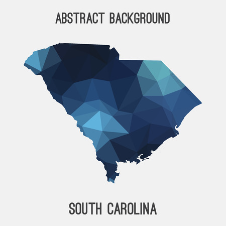 South Carolina state map in geometric polygonal style.Abstract tessellation, modern design background.