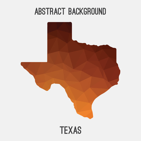 fort: Texas map in geometric polygonal, mosaic style.Abstract tessellation, modern design background, low poly. illustration.