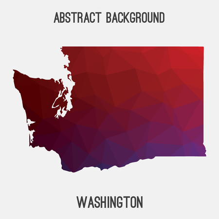 Washington map in geometric polygonal style.Abstract tessellation, modern design background. Illustration