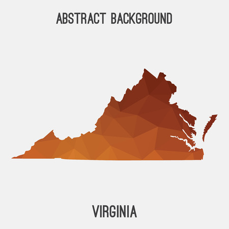 Virginia map in geometric polygonal, mosaic style.Abstract tessellation, modern design background, low poly.  illustration.