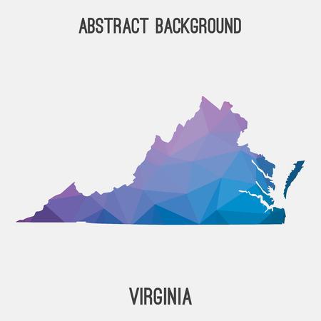 Carte de la Virginie en géométrique polygonale, style mosaïque. Mosaïque abstraite, arrière-plan de conception moderne, basse poly. illustration.