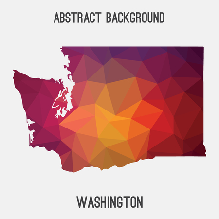 tacoma: Washington map in geometric polygonal style.Abstract tessellation, modern design background. Illustration