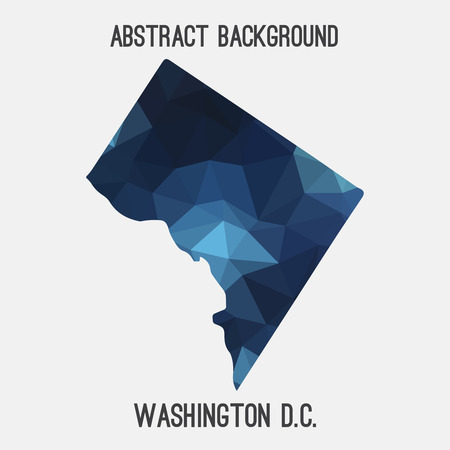 district of columbia: Washington District of Columbia map in geometric polygonal, mosaic style.Abstract tessellation, modern design background, low poly. illustration.