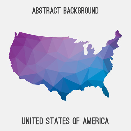 United States of America, USA map in geometric polygonal, mosaic style.Abstract tessellation, modern design background.