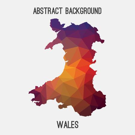 Galles mappa in geometrica tassellatura style.Abstract poligonale, design moderno fondo Vettoriali