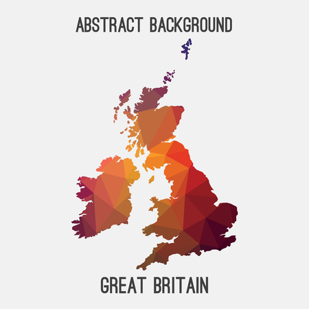 United Kingdom, Great Britain, UK, GB map in geometric polygonal, mosaic style.Abstract tessellation, modern design background.