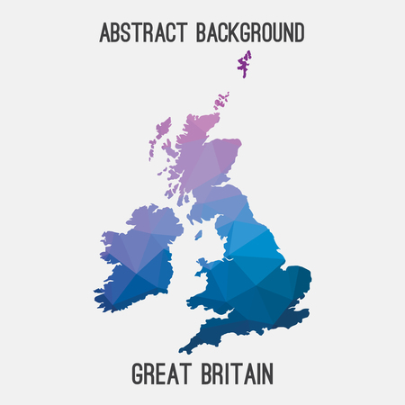 scotish: United Kingdom, Great Britain, UK, GB map in geometric polygonal, mosaic style.Abstract tessellation, modern design background.