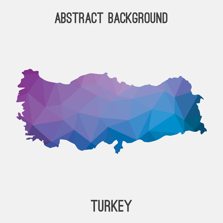 Turkey map in geometric polygonal, mosaic style.Abstract tessellation, modern design background.