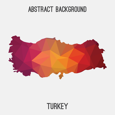 Turkey map in geometric polygonal, mosaic style.Abstract tessellation, modern design background.