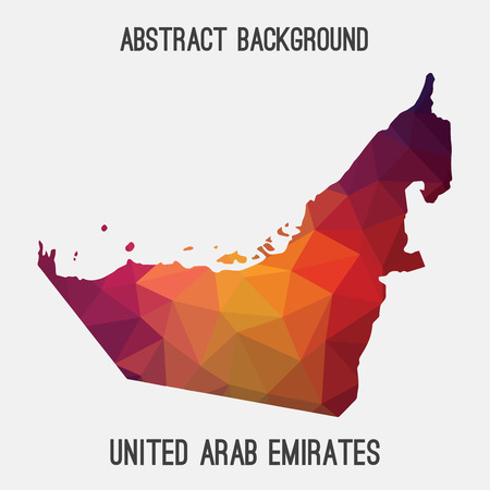 UAE, United Arab Emirates map in geometric polygonal style.Abstract tessellation, modern design background.illustration.