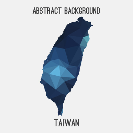 Taiwan map in geometric polygonal style.Abstract tessellation, modern design background.