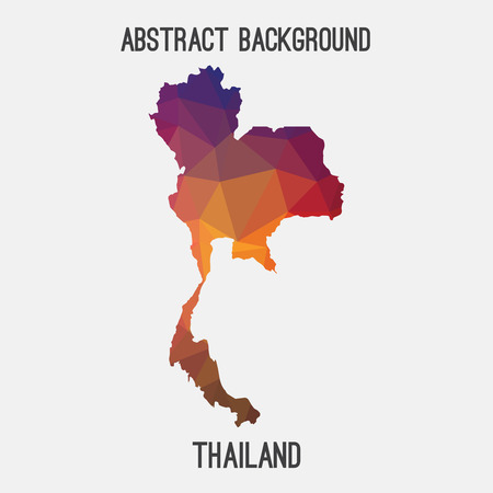 Thailand map in geometric polygonal style.Abstract tessellation, modern design background.
