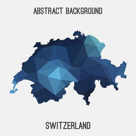 Switzerland map in geometric polygonal, mosaic style.Abstract tessellation, modern design background.